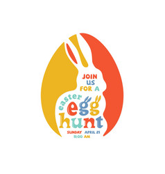 colorful easter egg hunt lettering vector image