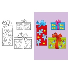 Coloring Book Of Set Christmas Gifts vector image
