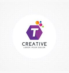 creative hexagonal letter t logo vector image