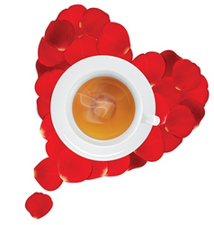 Cup of hot tea in the heart of rose petals vector