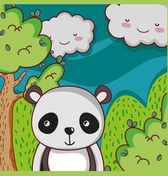 cute panda on forest doodle cartoon vector image