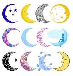 Different moon month vector