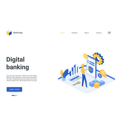 digital banking isometric landing page mobile vector image