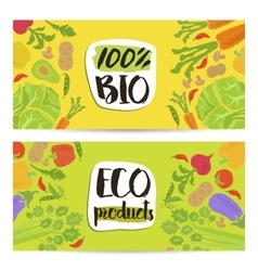 Eco products horizontal flyers set vector