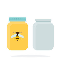 empty cans and jars honey flat material design vector image