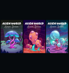 fantastic background fantasy cartoon alien world vector image
