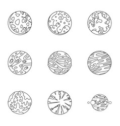 Fantasy planet icons set outline style vector