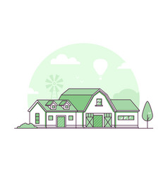 Farm - modern thin line design style vector