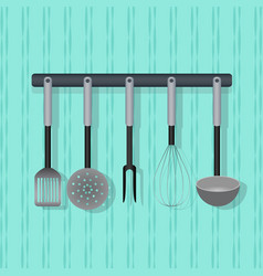 Flat utensil kitchenware on the wall vector