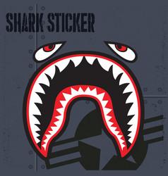 Flying tiger shark mouth sticker vinyl vector