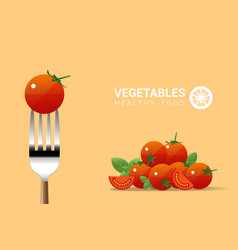 fresh tomato on fork with pile of tomatoes vector image