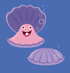 Funny shell with a pearl vector