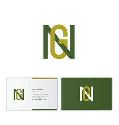 g and n monogram emblem flat linear letters vector image