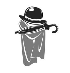 Gentleman black hat with umbrella and grey cape vector