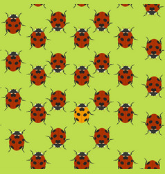 green seamless pattern with ladybugs vector image