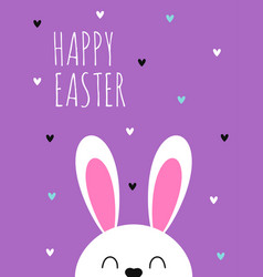 greeting with cute easter bunny isolated vector image
