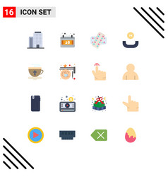 Group 16 modern flat colors set for hot cup vector