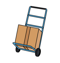 hand cart shipping box delivery service vector image