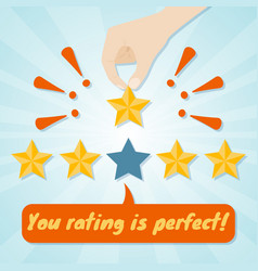 Hand giving fifth star rating vector