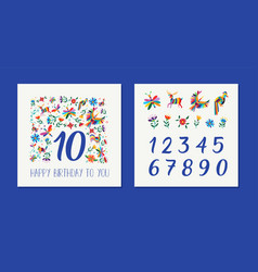 happy birthday age number floral card template vector image