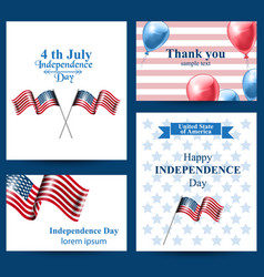 happy independence day american flag cards vector image