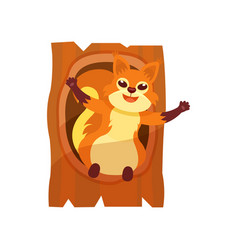 happy squirrel with wide open paws sitting in vector image