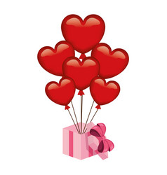 heart shaped party balloons with gift vector image