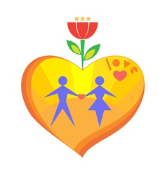 heart with sun man and woman in it vector image