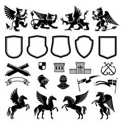 heraldic design elements with animals and shields vector image
