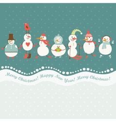 Horizontal cute snowmen vector