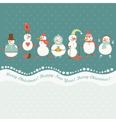 Horizontal of cute snowmen vector