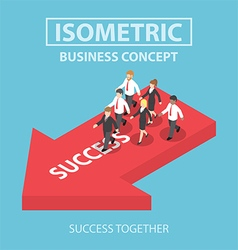 Isometric business leader bring his team to succes vector image