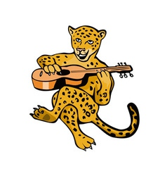 Jaguar Playing Guitar Cartoon vector