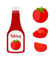 Ketchup with tomato red sauce condiment vector