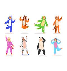 kids animal dress cartoon children wear costumes vector image