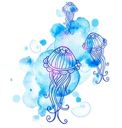 Marine background with jellyfish vector