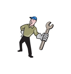 Mechanic Presenting Wrench Cartoon vector