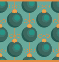 merry christmas tree toy ball green blue seamless vector image