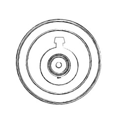 Monochrome sketch of video security camera lens in vector