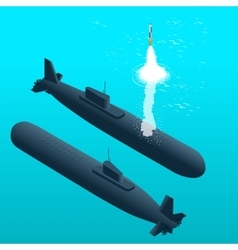 Nuclear submarine traveling underwaterNuclear vector