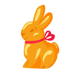orange chocolate bunny with pink ribbon drawn icon vector image