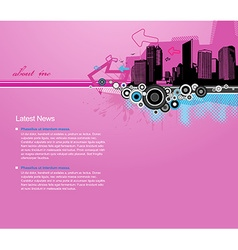 Pink background with city and place for your text vector
