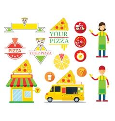 Pizza Shop Graphic Elements vector image