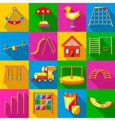 Playground icons set flat style vector