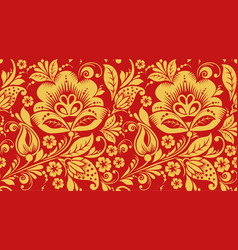 Red and gold hohloma seamless pattern texture vector