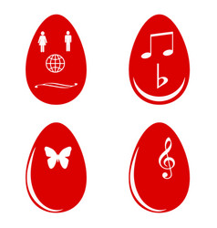 red easter eggs white white shapes vector image