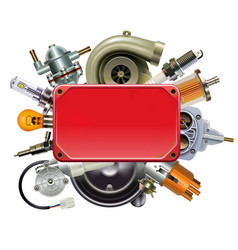 Red frame with car spares vector