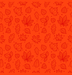 red seamless background with autumn leaves vector image