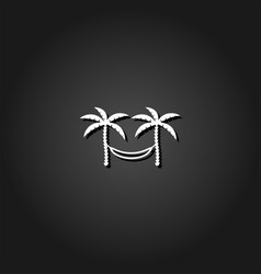 Relaxing hammock between two palm trees icon flat vector