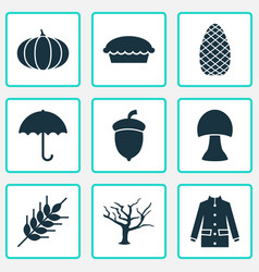 Season icons set includes icons such as gourd vector